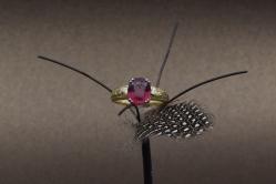 18 karaat geelgouden ring met een ovaal geslepen toermalijn