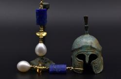 Oorhangers van 18 karaat geelgoud met Lapis Lazuli, citrien en zoetwaterparels